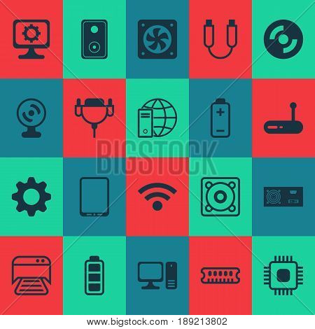 Hardware Icons Set. Collection Of Power Generator, Dynamic Memory, Printed Document And Other Elements. Also Includes Symbols Such As Wifi, Loudspeaker, Hardware.