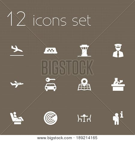 Set Of 12 Airplane Icons Set.Collection Of Air Traffic Controller, Vip, Data And Other Elements.