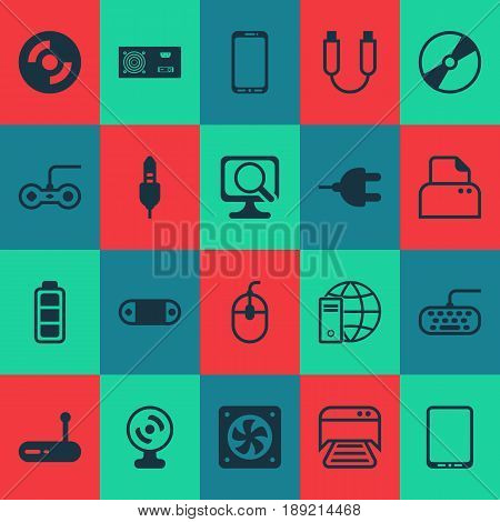 Hardware Icons Set. Collection Of Portable Memory, Cellphone, Accumulator Sign And Other Elements. Also Includes Symbols Such As Cursor, Dvd, Web.