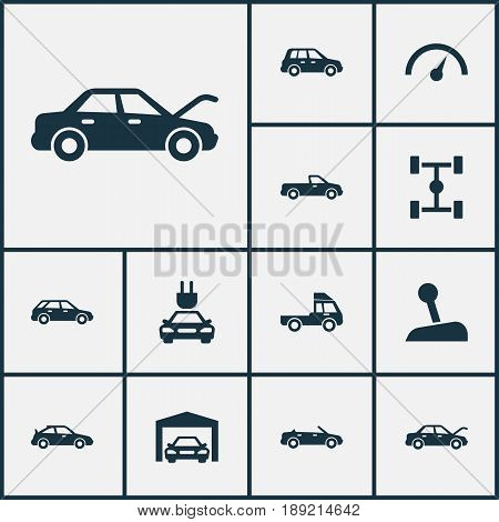 Car Icons Set. Collection Of Chronometer, Convertible Model, Wheelbase And Other Elements. Also Includes Symbols Such As Lorry, Speedometer, Plug.