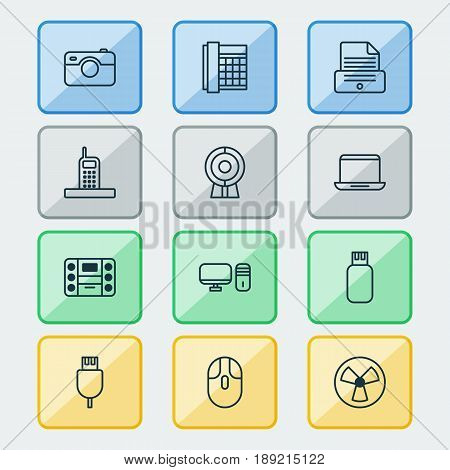 Gadget Icons Set. Collection Of Cursor Mouse, Ventilator, Notebook And Other Elements. Also Includes Symbols Such As Printer, Camera, Video.
