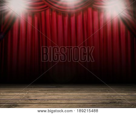 blank stage with shining flash light and red curtain background