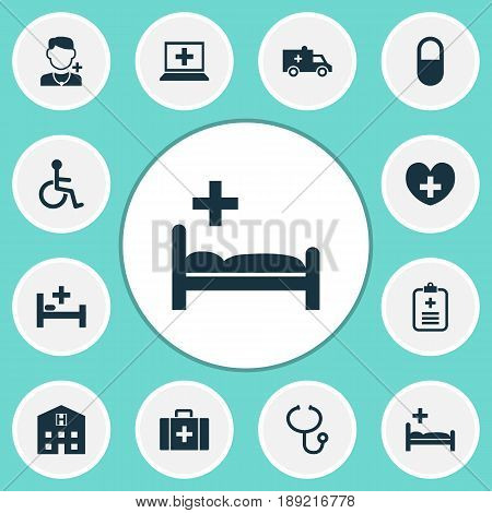 Medicine Icons Set. Collection Of Polyclinic, Review, Database And Other Elements. Also Includes Symbols Such As Doctor, Retreat, Brougham.