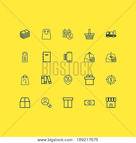 Ecommerce Icons Set. Collection Of Refund, Spiral Notebook, Mobile Service And Other Elements. Also Includes Symbols Such As Price, Currency, Books.