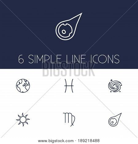 Set Of 6 Galaxy Outline Icons Set.Collection Of Pisces, Galaxy, Asteroid And Other Elements.