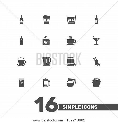 Set Of 16 Beverages Icons Set.Collection Of Espresso, Hotdrink, Fridge And Other Elements.