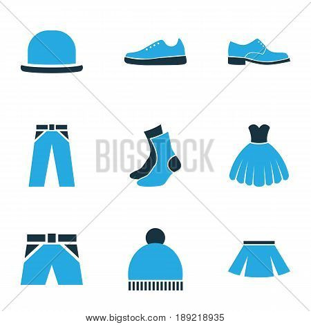 Garment Colorful Icons Set. Collection Of Evening Gown, Beanie, Skirt And Other Elements. Also Includes Symbols Such As Gumshoes, Ski, Sneakers.