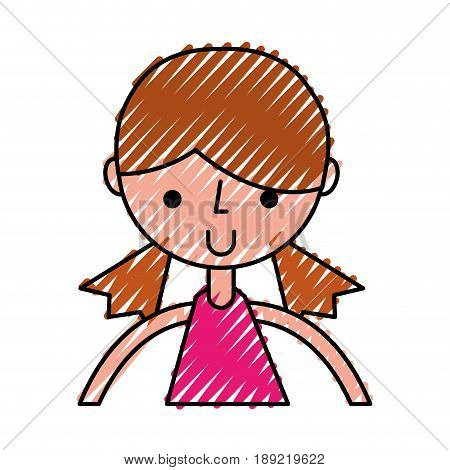 cute scribble upper body girl cartoon vector graphic design