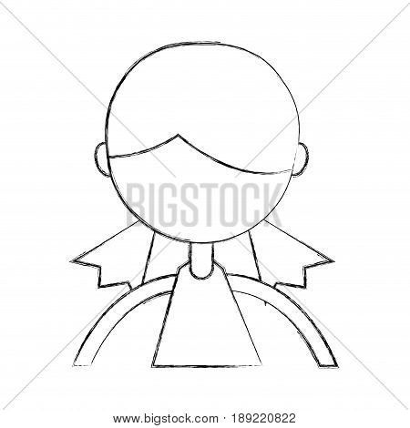 cute sketch draw upper body girl cartoon vector graphic design