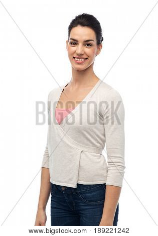 fashion, portrait and people concept - happy smiling young woman with braces