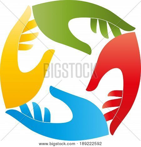 Four hands colored, team and hands logo