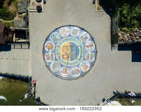 Aerial view of the sundial on the sea promenade of Svetlogorsk Russia