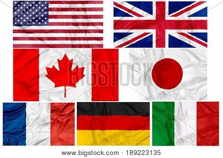 Flags of world G7, Group of Seven, contries, the seven major advanced economies, in frame on white background illustration. England Italy Unites States Germany France Canada and Japan.