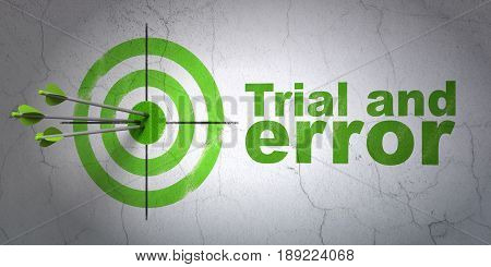 Success Science concept: arrows hitting the center of target, Green Trial And Error on wall background, 3D rendering