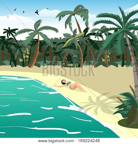 Sea landscape summer tropical private beach. Young woman in bikini sunbathing lying on sand alone. Vector flat cartoon illustration