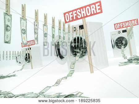 Concept of money laundering money hanging on a rope coming out of the washing machines money jump into the washing machines. Offshore banking - business idea with text. 3D illustration