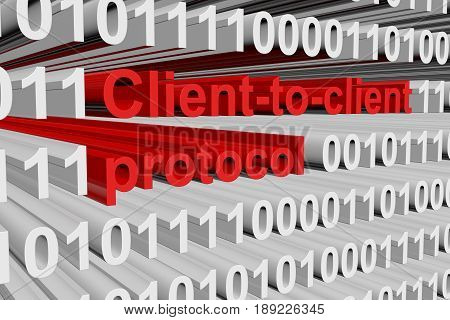 Client to client protocol in the form of binary code, 3D illustration