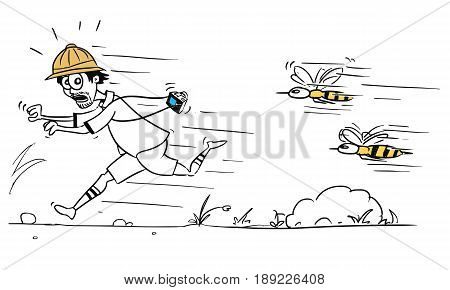 Cartoon vector male tourist is running away from large bee or wasp swarm pursuing him