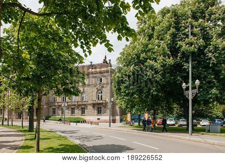 STRASBOURG FRANCE - MAY 18 2016: Detail of the Majestic Palais du Rihn Palace of the Rhine the former Kaiserpalast (Imperial palace) is a building situated in the German (north-east) quarter of Strasbourg (Neustadt) dominating the Place de la Republique (