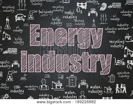 Industry concept: Chalk Pink text Energy Industry on School board background with  Hand Drawn Industry Icons, School Board