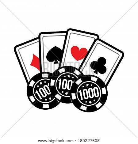 Casino card and casino chips on white background. Set poker chips and poker cards for casino games. Vector illustration