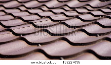 Brown roof of metal roofing background roof