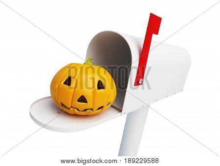 Pumpkin halloween in the mailbox 3D illustration