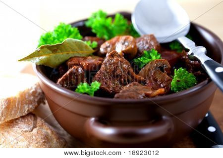 Goulash with beef and mushrooms