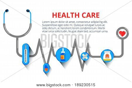 Modern flat design concepts for web banners, web sites, printed materials, infographic. Creative vector illustration. Health care, stethoscope, cardiogram, health monitoring, concepts set.
