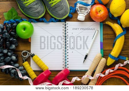 Fruit and supplies exercise for healthcare and word