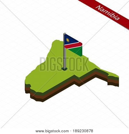 Namibia Isometric Map And Flag. Vector Illustration.