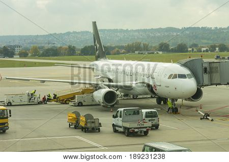 A Plane From Start Alliance At International Airport Of Stuttgart, Manfred Rommel. Stuttgart, German