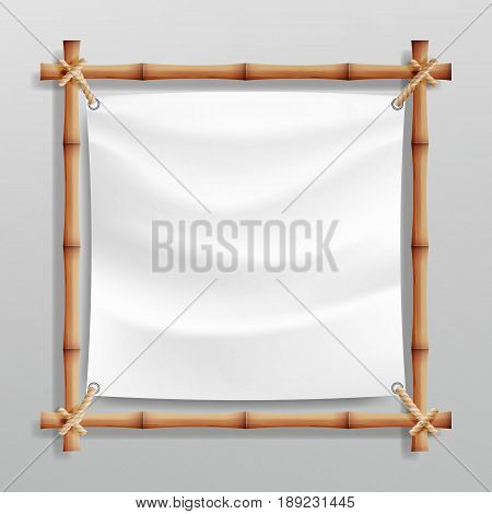 Bamboo Frame Template Vector. Good For Tropical Signboard. Empty Canvas For Text. Realistic