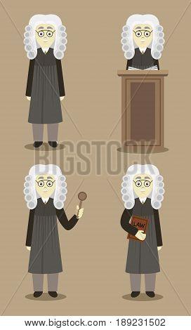 Hand drawn legal judge set. Law concept. Vector illustration, EPS 10