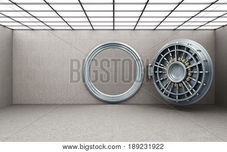 Big Open Safe Door Background High Resolution 3D Render
