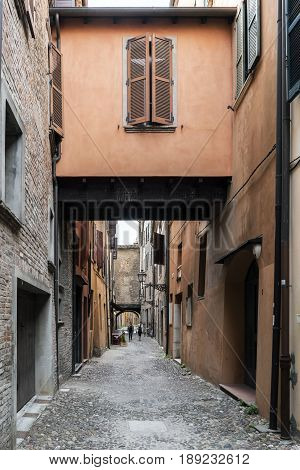 Ferrara Emilia-Romagna Italy. May 20 2017. Views of the via delle-volte a medieval street in the center of the village