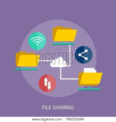 File Sharing Conceptual Design | Set of great flat design illustration concepts for business, finance, marketing and much more.