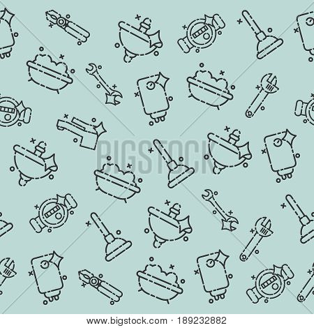 Plumbing concept icons pattern. Plumber and wrench. Engineer character. Plumber repairing a pipe under a sink. Flat icon modern design style concept