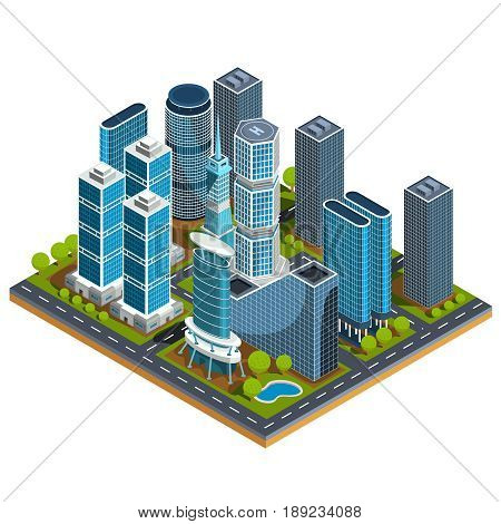 isometric 3D illustrations icons of buildings. The concept of modern urban quarter with skyscrapers, offices, residential buildings