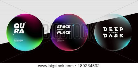 Set of Fluid Dark Shapes with Bright Colors. Trendy Futuristic Design. Placeholders for DJ Poster Social Media Banner Pop-Up.