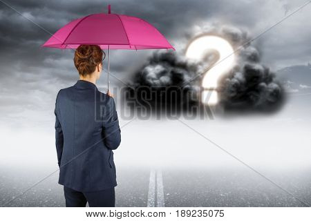 Digital composite of Digitally generated image of businesswoman with umbrella looking at question mark on cloud