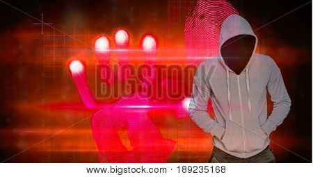 Digital composite of Hacker with hands in pockets standing by hand shape