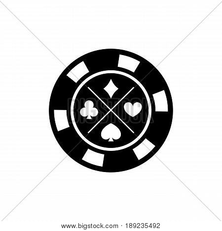 Poker chip for casino games on white background. Casino chips for poker game. Vector illustration