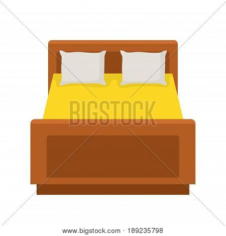 Double bed with a pillows and sheet isolated on white background. Vector Illustration
