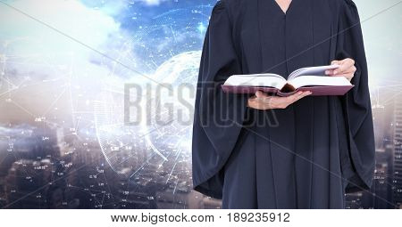 Digital composite of Midsection of judge holding book against screen