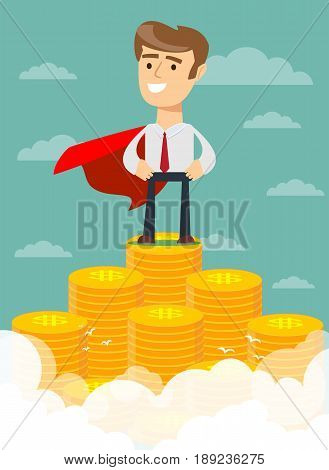 businessman in a business suit and red cape superhero proudly standing on the huge money staircase in a confident pose. Flat style business concept. Stock vector illustration