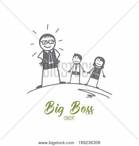 Vector hand drawn Big boss concept sketch. Big boss in glasses standing and looking at his office workers