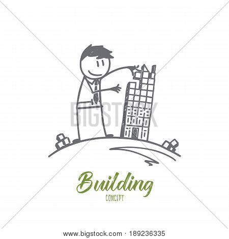 Vector hand drawn Building concept sketch. Man forming building from small cubes