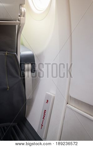 Airplane Cabin Emergency Safety Sign stock photo