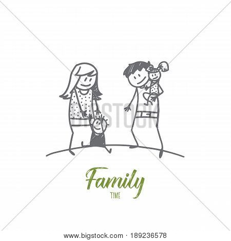 Vector hand drawn family time concept sketch with father and mother holding their little daughter and son
